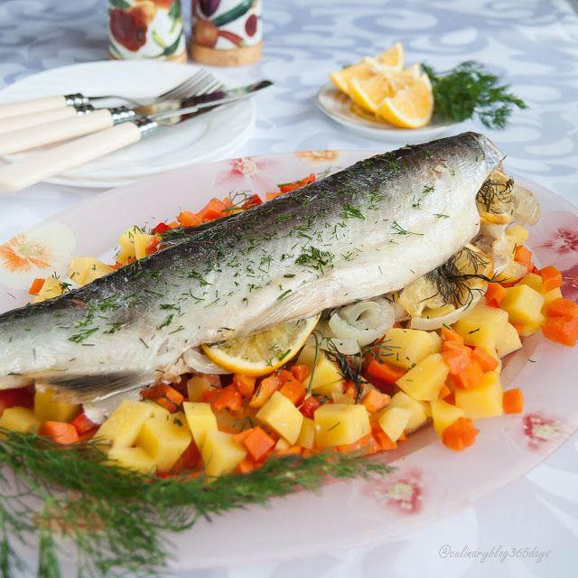 Кулинарный блог 365 дней: Рыба с лимоном на овощной подушке