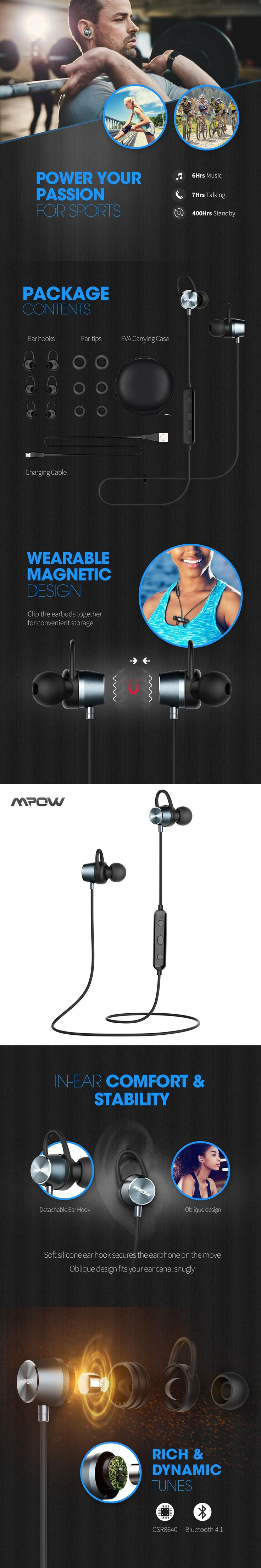 MPOW Jungle Magnetic Bluetooth V4.1 Headphones Wireless Earphone Stereo Music Outdoor Sport Earbuds w/ Mic for iPhone Samsung
