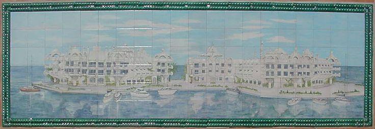 Puerto Marina Benalmádena-MÁLAGA (ESPAÑA) Mide 3 x 1 metros y en este mural pinté la Isla Artificial de Poniente y sus preciosas casas que parecen salidas de la película  La Guerra de las Galaxias. Puedes ver mas en: http://www.isabelgan.es/index.html