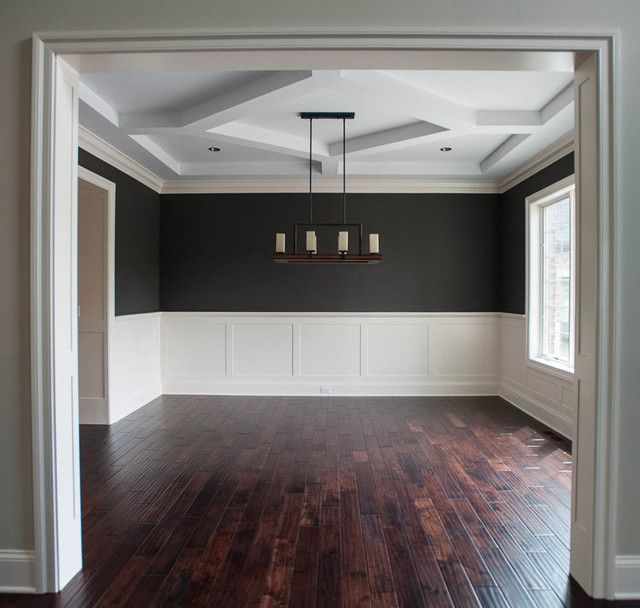 I love the wainscoting and paint color...perfect for dining room.