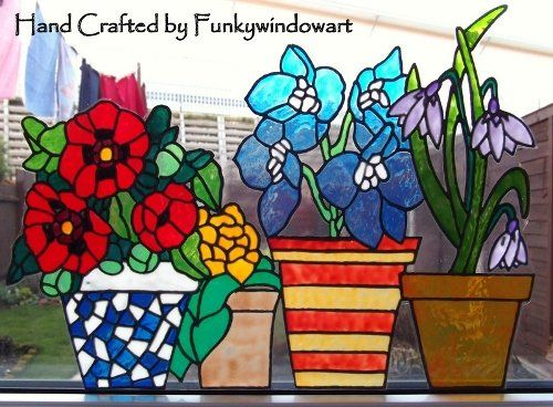 Flower Pots Window Border Style 4 Static Window Cling hand painted flower pots static window clings window art stained glass effects suncatchers decals window designs [] - £13.50 : Funky Window Art!, Window clings, suncatchers, stained glass effects