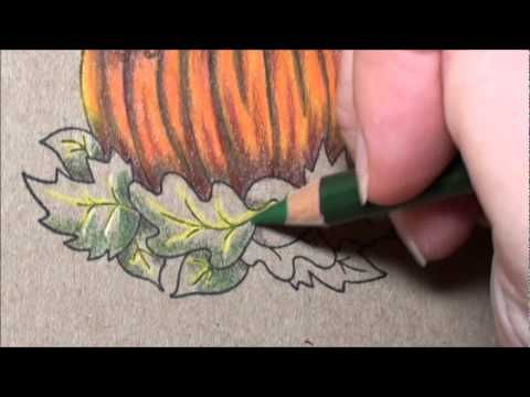 Tutorial - colouring leaves with Prismacolor pencils on kraft card