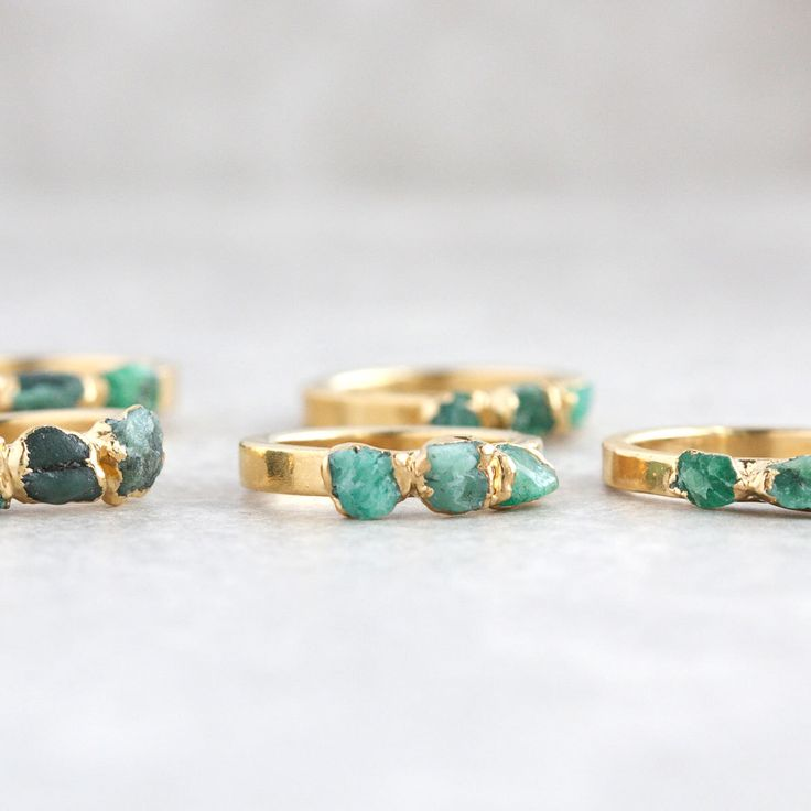 emerald ring / raw emerald ring / natural emerald ring / emerald stacking ring / may birthstone / dainty emerald ring / rough emerald by DANIBARBEshop on Etsy https://www.etsy.com/listing/499605722/emerald-ring-raw-emerald-ring-natural