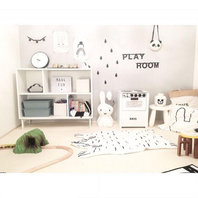 chakiさんの、部屋全体,ポスター,IKEA,子供部屋,ミッフィー,北欧,シンプル,白黒,雲,モノトーン,こども部屋,キッズスペース,新築,こどもスペース,レターバナー,小さなお家,遊び部屋,こどもと暮らす。,のお部屋写真