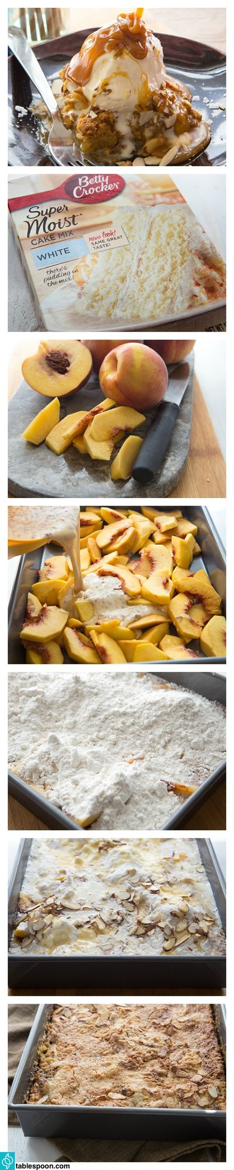 Quick and simple, this delicious peach cake is the perfect way to enjoy fresh spring peaches. Just dump in the ingredients, bake and serve!