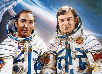 """This spaceflight was the seventh Interkosmos mission (with Arnaldo Tamayo Méndez, the first cosmonaut from Cuba). Following a one day solo flight Soyuz 38 docked with the Salyut 6 space station on September 19, 1980. The fourth resident crew recorded the ignition and operation of the transport's main engine. As the spacecraft approached Salyut 6, the resident crew could see only its """"headlights"""". Arnaldo Tamayo Méndez of Cuba and Soviet cosmonaut Yuri Romanenko docked without incident."""