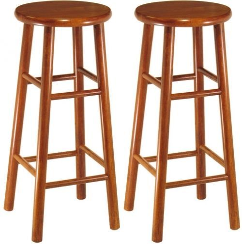 Bar Stool Set 2 Piece 30 Inch Solid Wood Cherry Finish Beveled Seat Foot Rest #WinsomeWood