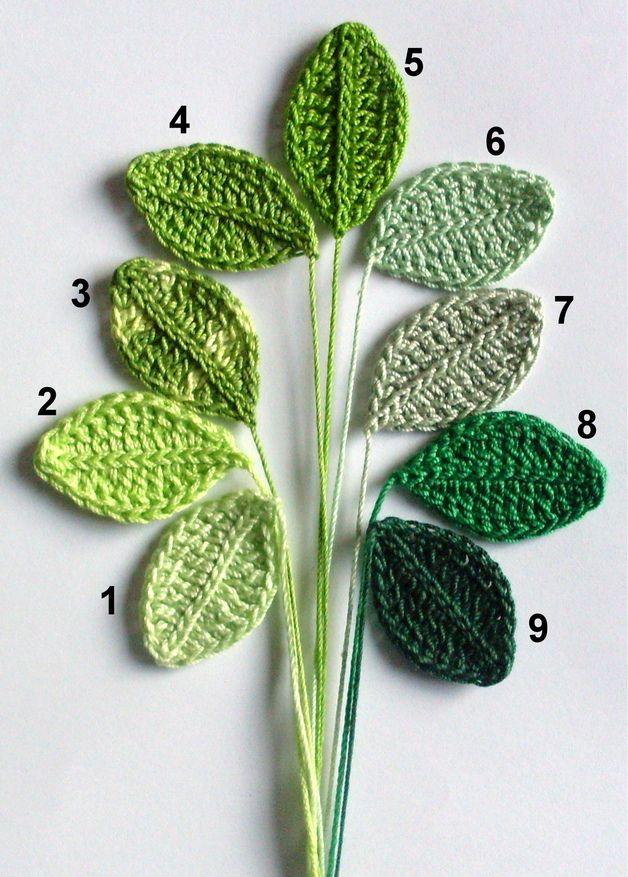 4 Gehäkelte Blätter Ca 35 X 2 Cm Gehäkelt Aus Feinem Häkelgarn