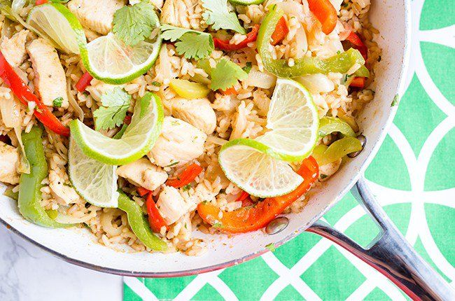 This healthy, low-calorie, protein-packed chicken and rice dish is super easy to make, and even easier to clean up!
