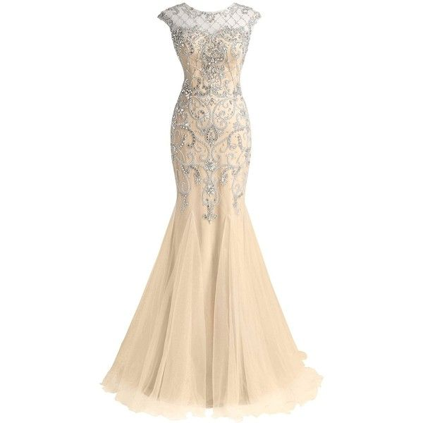 LucysProm Women's Prom Dresses Mermaid Scoop Beaded Bodice Tulle... (205 CAD) ❤ liked on Polyvore featuring dresses, scoop dress, beige prom dresses, beaded prom dresses, beaded dress and beading dress