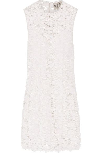 SEA - Appliquéd Guipure Cotton-lace Mini Dress - White - US10