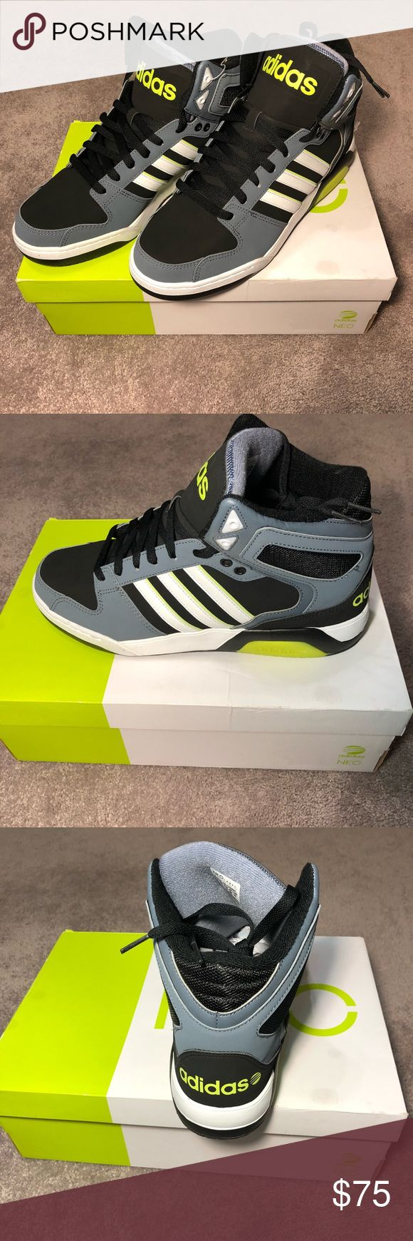 Adidas men's neo basketball sneakers 10 New in box men's adidas neo basketball high top sneakers. Size 10. Black, gray, yellow, and white. Tried on, never worn. adidas Shoes Sneakers #sneakersadidas