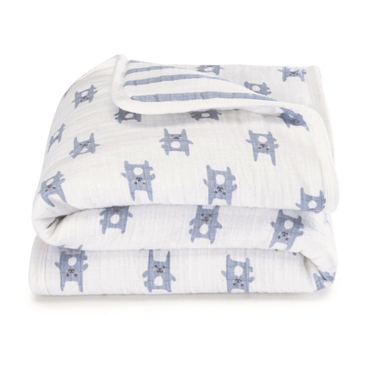 Aden by Aden + Anais Mini Flannel Muslin Blanket - Funny Bunny - Blue Stripes