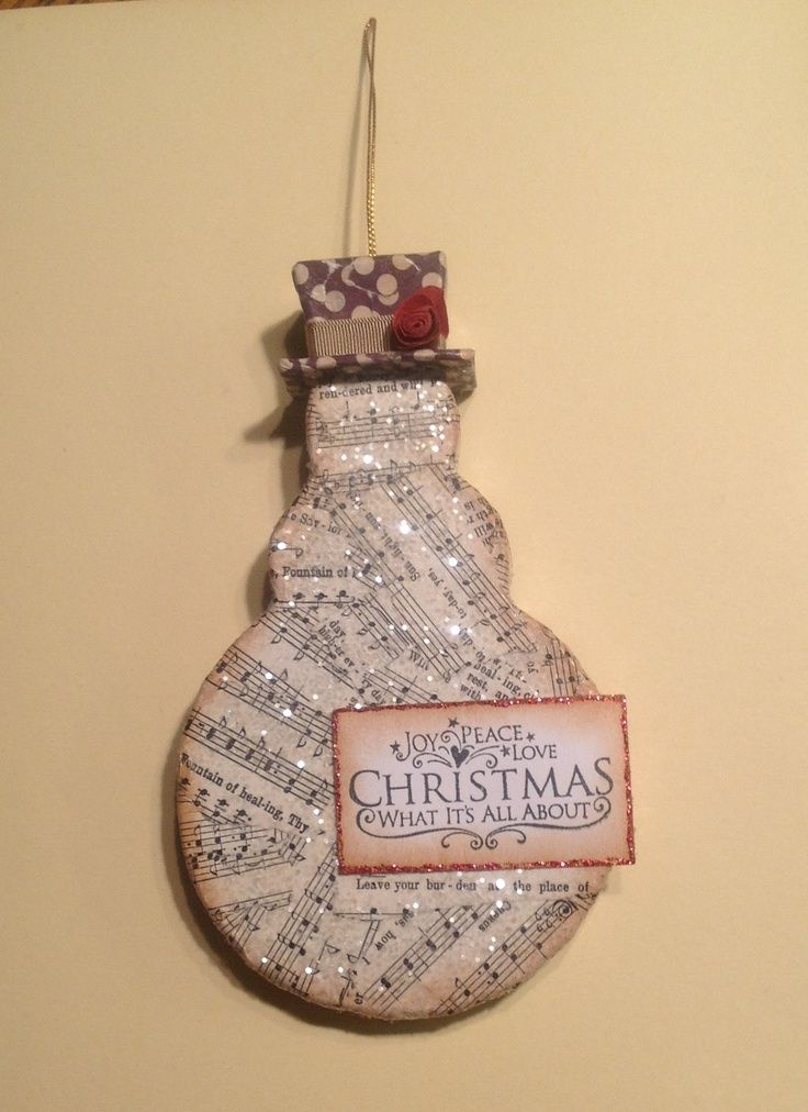 Christmas ornament using paper m ch snowman from hobby for Vintage christmas craft supplies