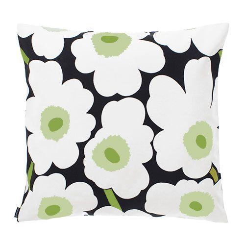 Marimekko Unikko Black/White/Green Outdoor Throw Pillow - Marimekko Bedding, Blankets & Throw Pillows