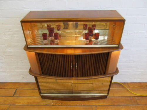 art deco 1930s book matched walnut light up cocktail cabinet drinks bar