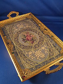 Victorian:  #Victorian Jeweled and  Embroidered Bronze Tray.