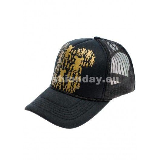Originálne šiltovky pánske čiernej farby so zlatým motívom - fashionday.eu