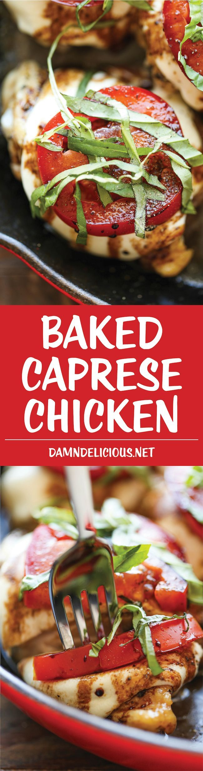 Baked Caprese Chicken - Amazingly crisp-tender chicken baked with melted mozzarella and topped with juicy tomatoes, fresh basil and balsamic reduction!