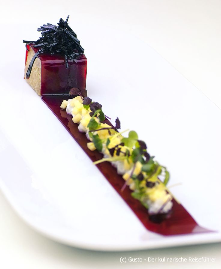 I see this as a long beet ribbon with a deviled egg salad and maybe fois gras cube? The picture is amazing and I could make it something yummy