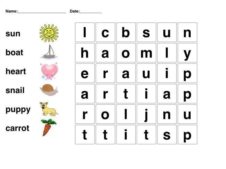 Kindergarten Word Search Picture