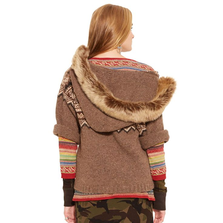 Shearling-Trim Lace-Up Sweater - V-Necks  Sweaters - RalphLauren.com