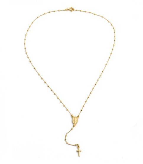 """A delicate necklace featuring a religious medallion and tiny cross with a 3"""" drop. Available in sterling silver, rose gold plated and 14 kt gold plated over silver. Length approximately 18"""""""