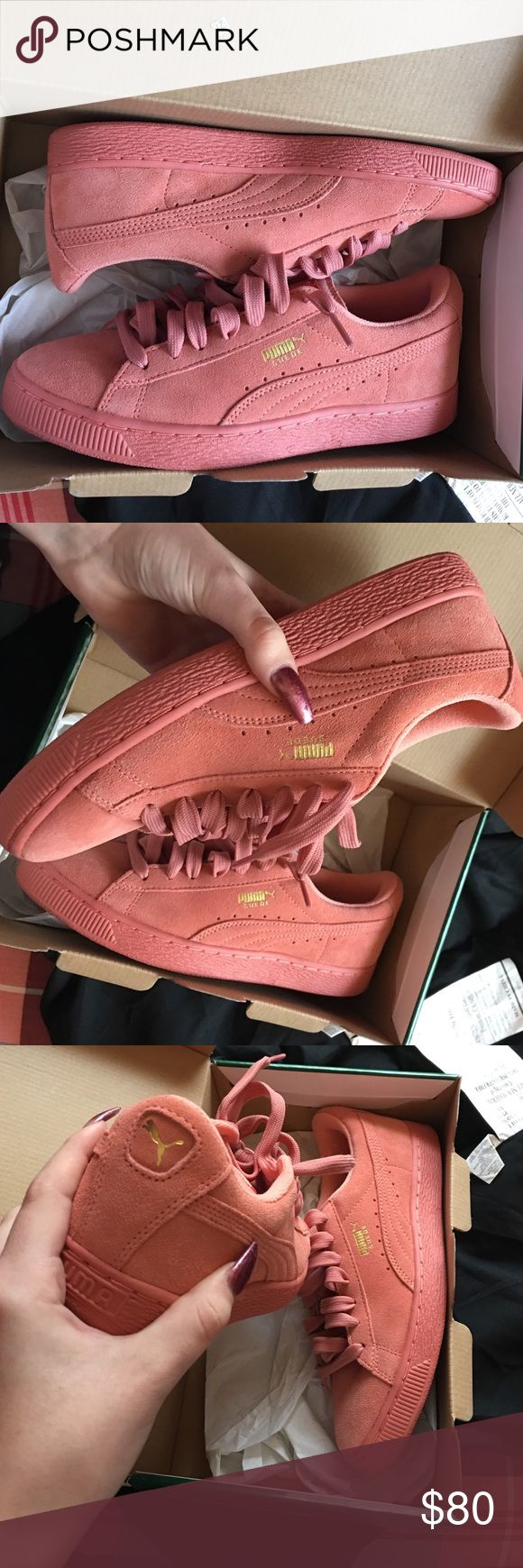 pink suede pumas never worn, bought the wrong size, fits a 7 in kids Puma Shoes