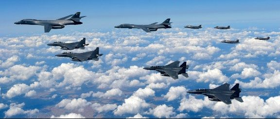 US nuclear bomber strike force in a threatening show of force action over the Korean peninsula (USAF photo)