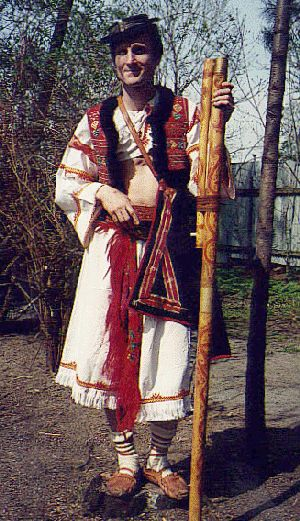 "folk costume from Detva, Slovakia traditional musical instrument ""fujara"""