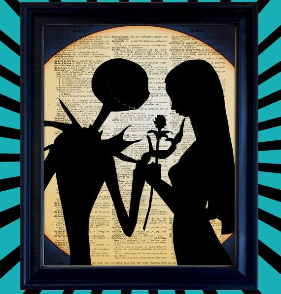 Jack Skellington, Pumpkin King of Halloweentown and Sally from Nightmare Before Christmas romantic meeting by moonlight. This is an original silhouette