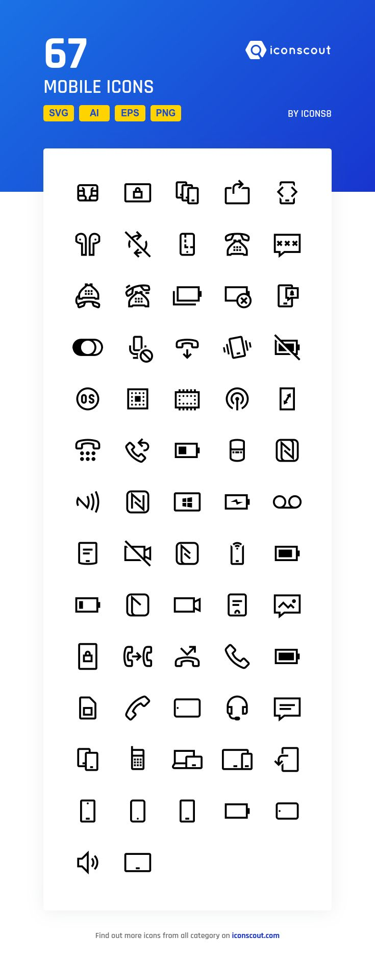 Mobile  Icon Pack - 67 Line Icons