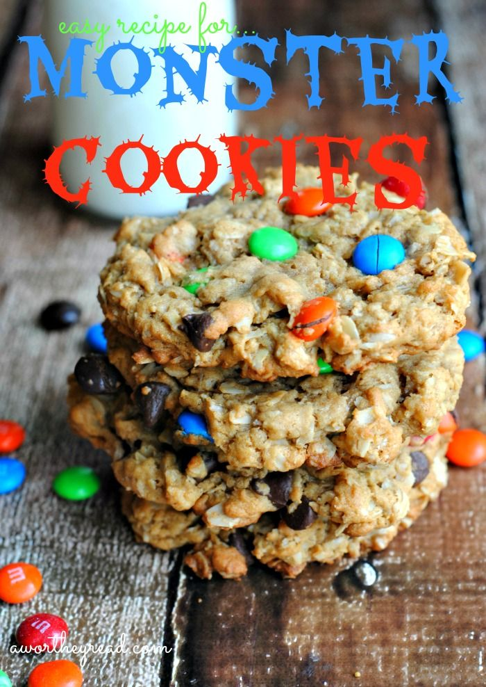 You're kids will LOVE this easy recipe for Monster Cookies! Definitely a big hit! #recipes #cookierecipes