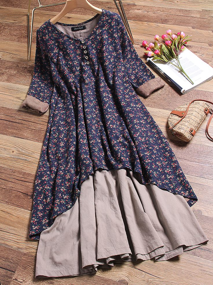 48% OFF! US$49.99 Plus Size Floral Printed Two Layers Long Sleeve Vintage Dresses. SHOP NOW!