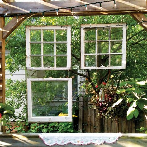 Create deck privacy with old windows funky outdoor decor for Outdoor decorating with old windows