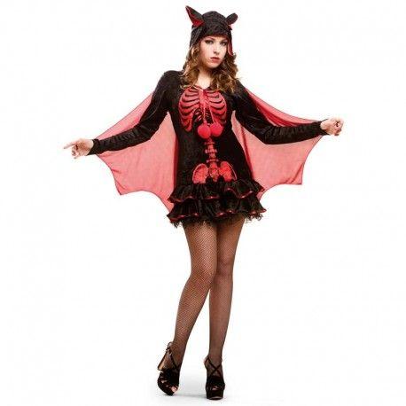 Disfraces Halloween mujer | Disfraz de esqueleto rojo. Compuesto de vestido, capa de gasa y gorro con colgantes.Talla M. 29,95€ #esqueleto #disfrazesqueleto  #disfraz #halloween #disfrazhalloween #disfraces