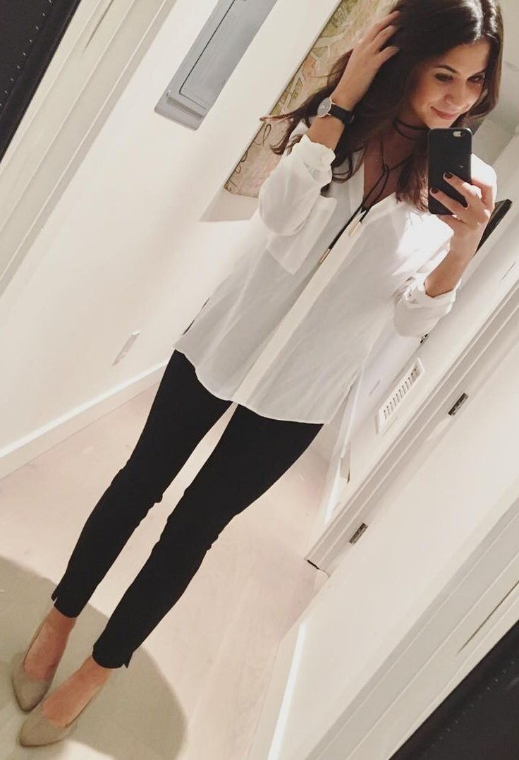#winter #fashion /  White Blouse + Black Jeans