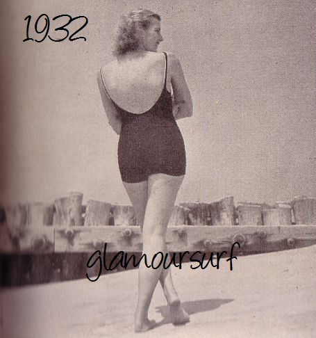 2773b0b5e4d18 1932 - Backless one piece suits were the new style. Skirts had now been  hiked to the top of the thighs but necklines were…