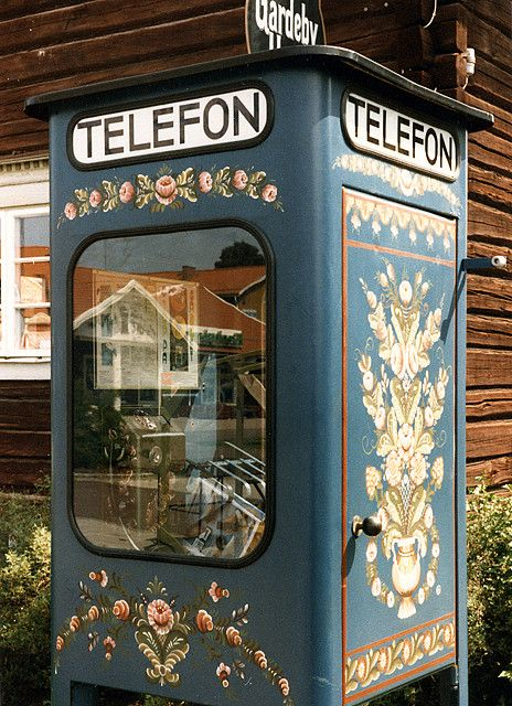 nordic blue phone booth, Dalarna, Sweden     (and phone booths are so not even in use in alot of cities inUsa and Canada, )  this one is even a pretty booth..
