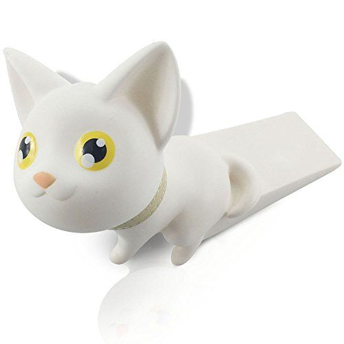 Cute Cat Door Stopper Wedge Finger Protector Works on All Surfaces Non Scratching Strong Grip (White)