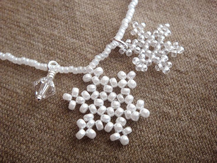 Snowflake Necklace, Snowflake Charm Necklace, Bridesmaid Necklace, Wedding Jewelry, Beaded with Seed Beads and Crystal - SALE. $21.00, via Etsy.