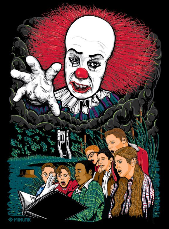 stephen king's it, pennywise, pennywise the clown, clown, art, illustration, vector, minutia, tim curry