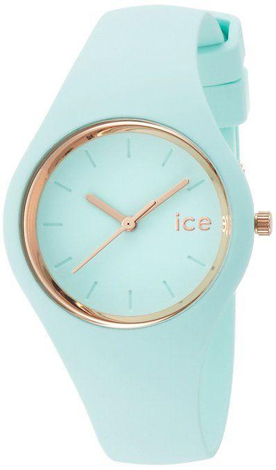 ICE-Watch - ICE Glam Pastel - Aqua - Small - Montre femme Quartz Analogique - Cadran Bleu - Bracelet Silicone Bleu - ICE.GL.AQ.S.S.14