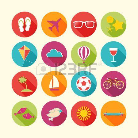 Set of Summer objects. Vector illustration.