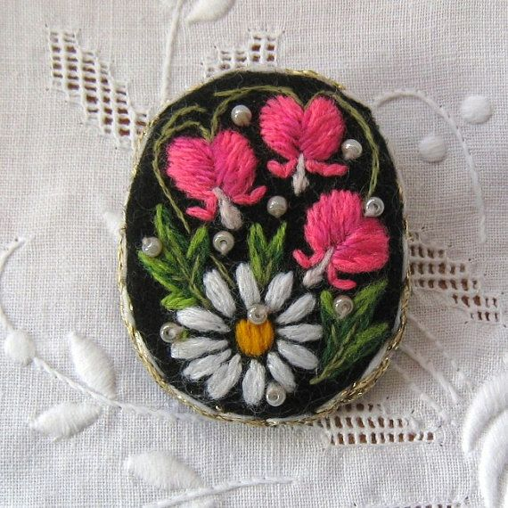 Hand embroidered jewelry, embroidered brooch, Muhu art embroidery brooch