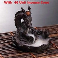 Geek | Dragon Incense Burner For Incense Cone Smoke Backflow like Water Streaming Down Loong Craft Home Decor  with 40 unit Incense Cone