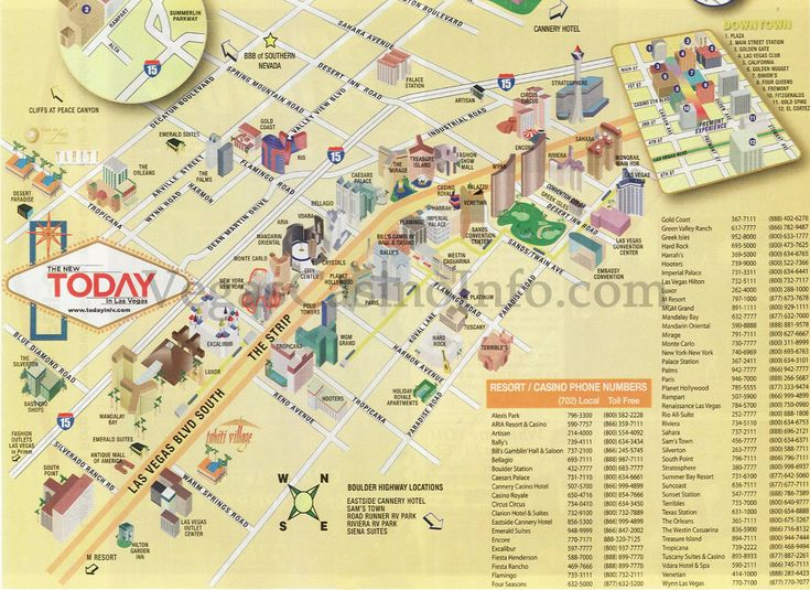las vegas hotels map on strip