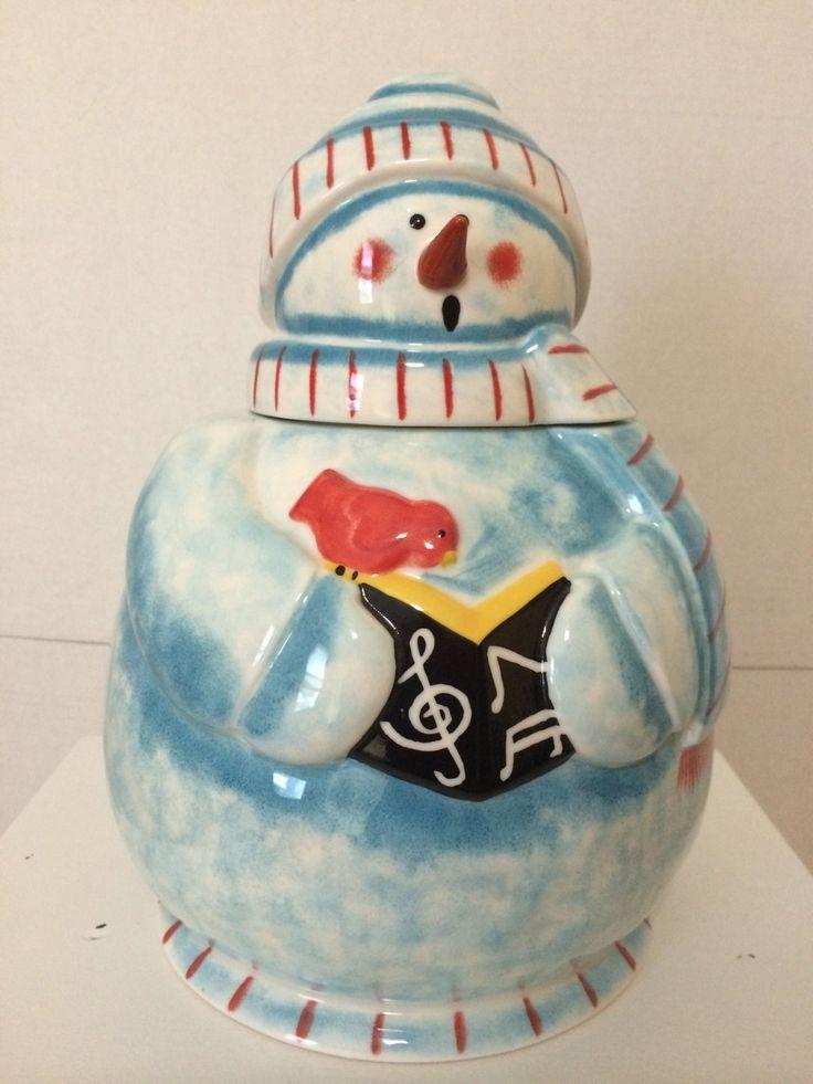 Hand Painted Blue Ceramic Snowman Cookie Jar Lifestyle 12