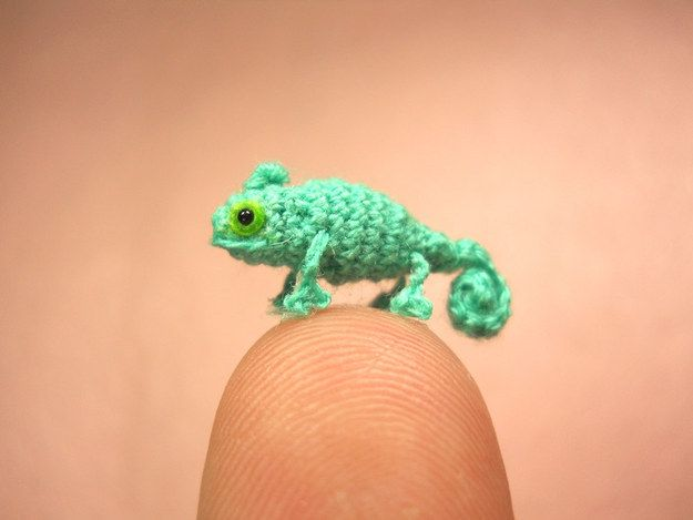A micro crocheted chameleon. | 30 Ridiculously Adorable Tiny Presents You'll Want To Buy Immediately