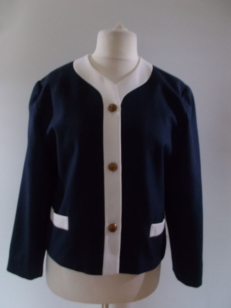 Vintage blazer jacket 80s navy jacket with white trim by Classic Woman size large extra large by BidandBertVintage on Etsy